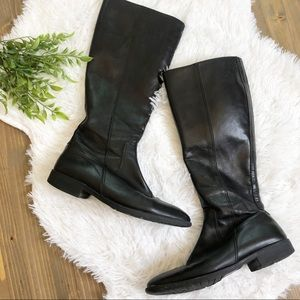 J Crew Riding Boots Black Leather Made Italy 7.5